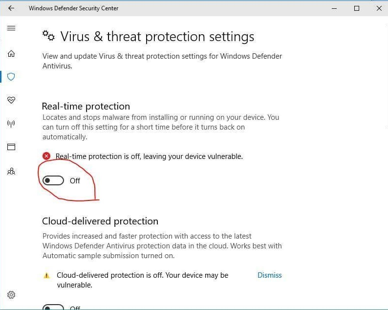 Disable Real Time Protection 1