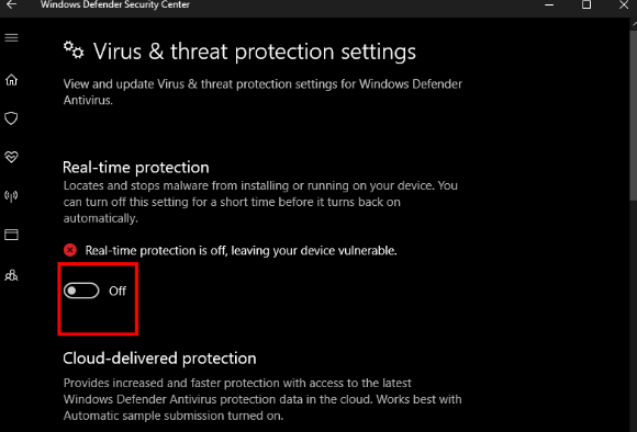 Real Time Protection in Windows Defender